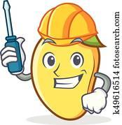 Automotive mango character cartoon mascot