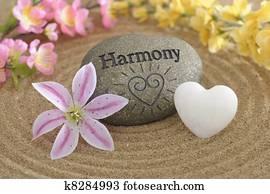 zen stone of harmony in sand