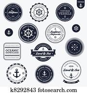 altmodisch, nautisch, etiketten