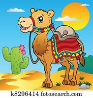 Desert scene with camel
