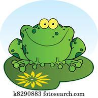 glücklich, frosch, auf, a, lilypad