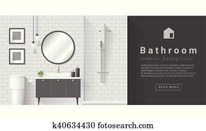 Interior design Modern bathroom background 4