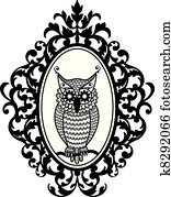 owl in frame, vector
