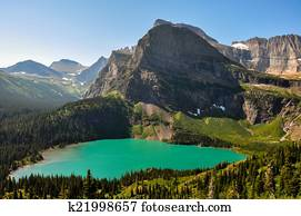 Trekking in Grinnel Lake Trail, Glacier National Park, Montana,