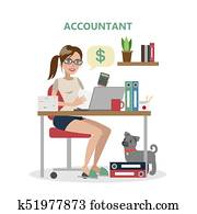 Isolated female accountant.