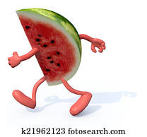 slice of watermelon with arms and legs running