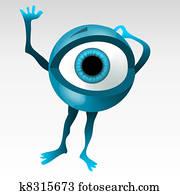 Blue eyeball mascotte