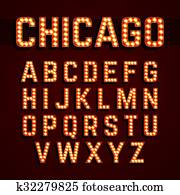 Chicago, Broadway lights font