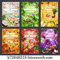 Color diet, healthy rainbow food nutrition