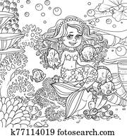 Cute little mermaid girl sits on a stone playing with fish on underwater world with corals and anemones background outlined