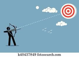 Man shooting target with arrow