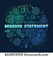 Vector Mission Statement round blue outline illustration