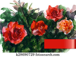 Watercolor illustration depicting the red roses