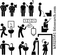 Funny Public Toilet Icon Pictogram
