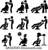 herrenfriseur, haar salon, friseur, symbol
