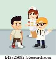 man with broken leg consulting to doctor
