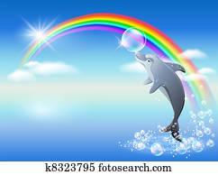 Rainbow and dolphin