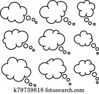 vector set of thought thin line bubbles, dialog bubble icon