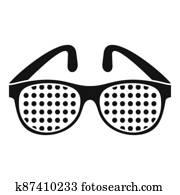 Examination control eyeglasses icon, simple style