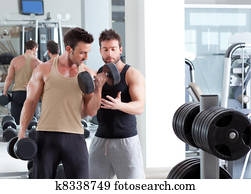 gym personal trainer man with weight training