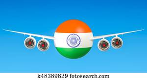 Indian airlines and flying's, flights to India concept. 3D rendering