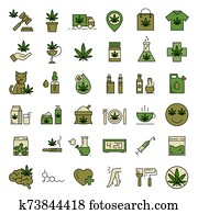 Marijuana icons. Set of medical cannabis icons.
