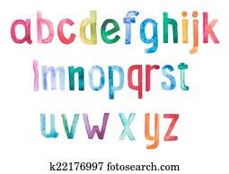 Colorful watercolor aquarelle font type handwritten hand draw doodle abc alphabet letters.