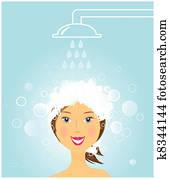 girl washing hair under shower