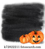 Halloween creepy pumpkin Watercolor hand painted abstract brush strokes pattern. Black background. Greeting card, poster, banner concept with copy space for text. Autumn colors