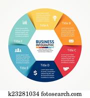 Infographic, diagram, 6 steps, options