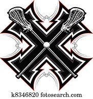 Lacrosse Sticks Graphic Vector Temp
