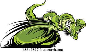 Racing Gator or Croc Mascot Graphic