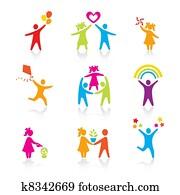 satz, von, heiligenbilder, -, silhouette, family., woman,, man,, kid,, child,, boy,, girl,, father,, mother,, eltern, symbol., leute, vector.