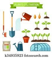 satz, von, landwirtschaft, objects., instrumente, für, cultivation,, betriebe, setzling, process,, buehne, pflanze, growth,, düngemittel, und, gew?chshaus