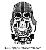 Angry SKULL for motorcycle, biker t-shirt
