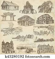architecture around the world - an hand drawn pack