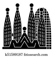 barcelona - sagrada familia icon, vector illustration, black sign on isolated background