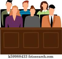 Jury trial. Jurors court in courtroom, prosecution people vector illustration