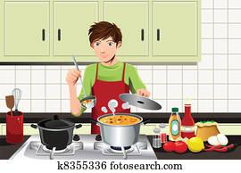 mann, kochende