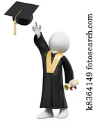 3D student dressed in cap and gown on graduation day