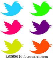 Fluorescent Twitter Birds