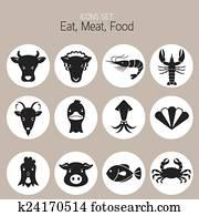 heiligenbilder, satz, :, tier, fleisch, meeresfrüchte