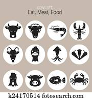 Icons Set : Animal, Meat, Seafood
