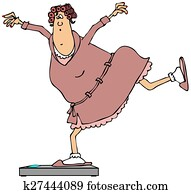 Woman balancing on bathroom scales