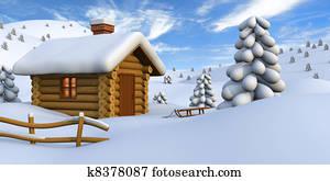 Log cabin in snowy countryside