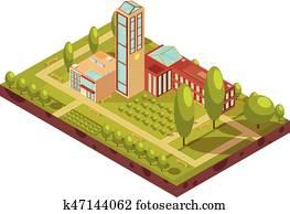 Modern University Building Isometric Layout