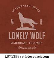 Old wilderness label with wolf and typography elements. Vintage style wolf logo. Print of howling wolf. Unique design for t-shirts, apparel. Hand drawn wolf insignia, rustic design.