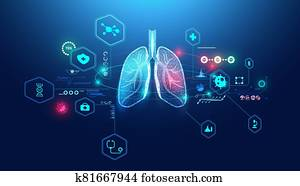 Abstract futuristic human lungs wireframe blue digital point connecting concept Analysis and diagnosis of pulmonary diseases,Respiratory disease,Lung health,Medical care for patients.