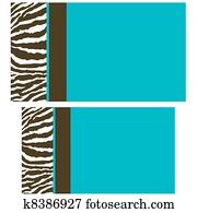 Brown Blue Zebra Business Cards