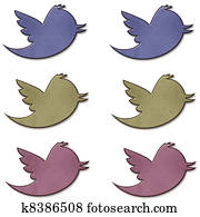 Earth tone Twitter Bird Set